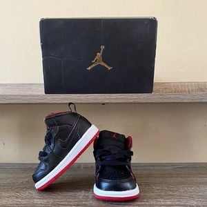 Jordan 1 MID BT in Black, White and Gym Red